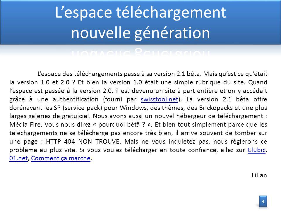 L'espace des téléchargements passe à sa version 2.1 bêta.