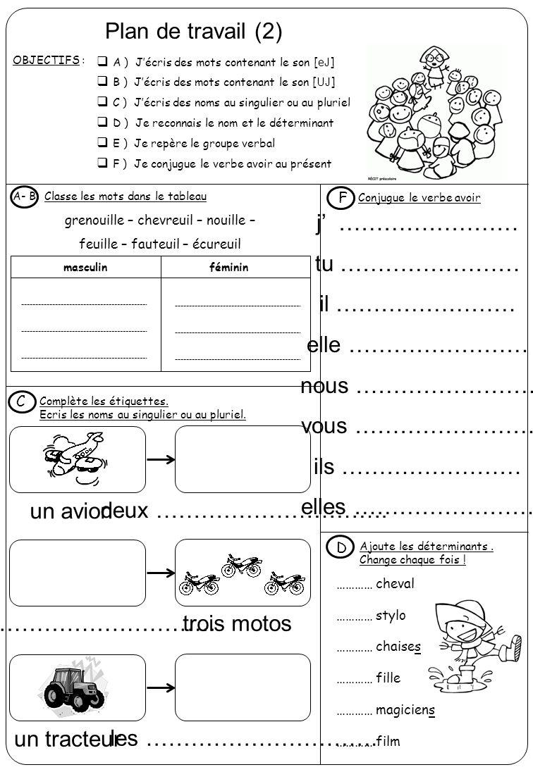 Plan de travail (2) OBJECTIFS :  A ) J'écris des mots contenant le son [eJ]  B ) J'écris des mots contenant le son [UJ]  C ) J'écris des noms au si