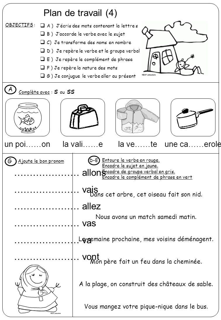 Plan de travail (4) OBJECTIFS :  A ) J'écris des mots contenant la lettre s  B ) J'accorde le verbe avec le sujet  C) Je transforme des noms en nombre  D ) Je repère le verbe et le groupe verbal  E ) Je repère le complément de phrase  F ) Je repère la nature des mots  G ) Je conjugue le verbe aller au présent Complète avec : s ou ss A un poi……onla vali……ela ve……teune ca……erole Ajoute le bon pronom G ………………… allons ………………… vais ………………… allez ………………… vas ………………… va ………………… vont Entoure le verbe en rouge.