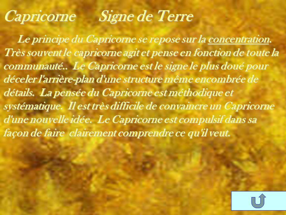 Capricorne Signe de Terre Le principe du Capricorne se repose sur la concentration. Très souvent le capricorne agit et pense en fonction de toute la c