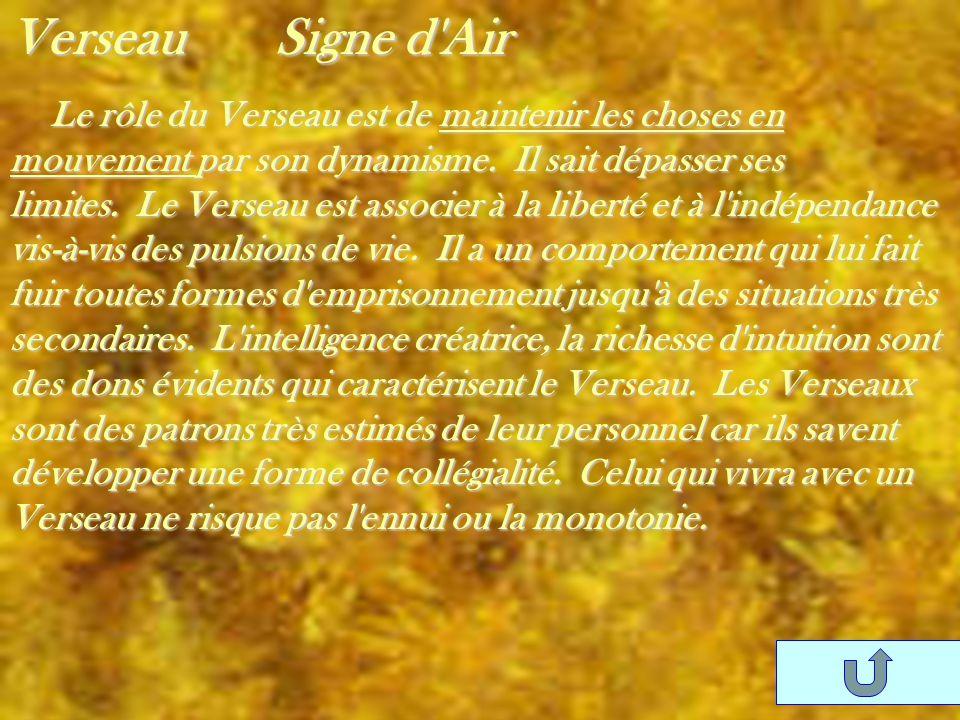 Verseau Signe d'Air Le rôle du Verseau est de maintenir les choses en mouvement par son dynamisme. Il sait dépasser ses limites. Le Verseau est associ