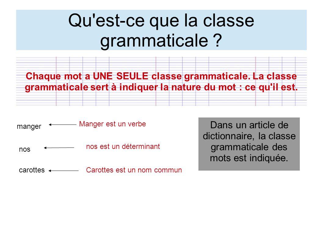 Qu'est-ce que la classe grammaticale ? Chaque mot a UNE SEULE classe grammaticale. La classe grammaticale sert à indiquer la nature du mot : ce qu'il