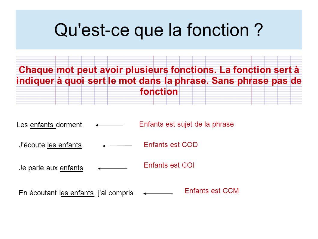 Qu'est-ce que la fonction ? Chaque mot peut avoir plusieurs fonctions. La fonction sert à indiquer à quoi sert le mot dans la phrase. Sans phrase pas
