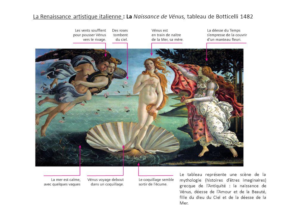 La Renaissance artistique italienne : La Naissance de Vénus, tableau de Botticelli 1482 Le tableau représente une scène de la mythologie (histoires d'