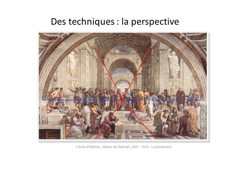 Des techniques : la perspective L'école d'Athènes, tableau de Raphaël, 1509 - 1510, La perspective