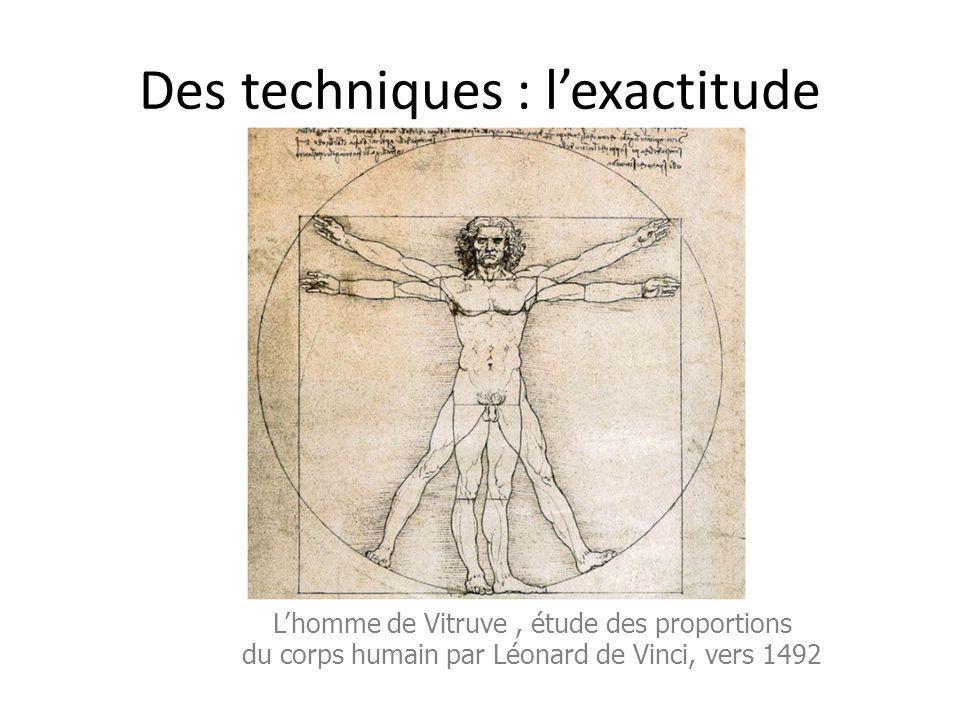 Des techniques : l'exactitude L'homme de Vitruve, étude des proportions du corps humain par Léonard de Vinci, vers 1492