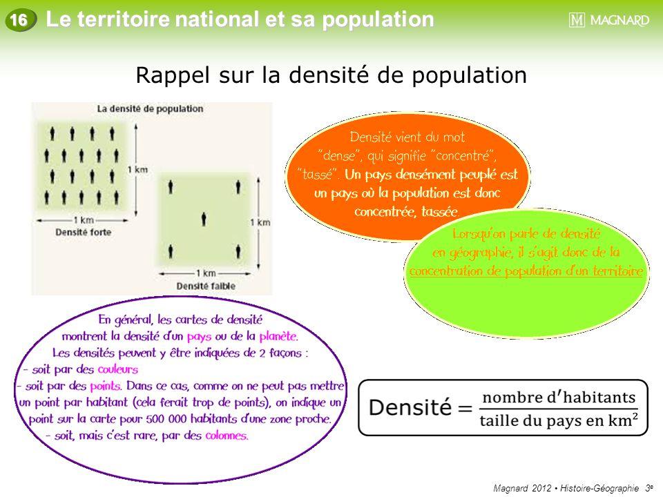Magnard 2012 Histoire-Géographie 3 e Le territoire national et sa population 16 Rappel sur la densité de population