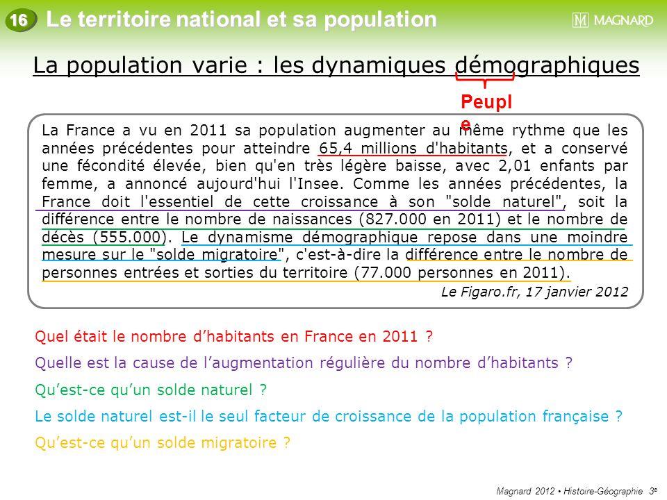 Magnard 2012 Histoire-Géographie 3 e Le territoire national et sa population 16 La population varie : les dynamiques démographiques La France a vu en
