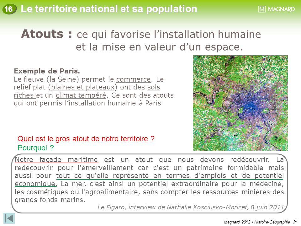 Magnard 2012 Histoire-Géographie 3 e Le territoire national et sa population 16 Exemple de Paris. Le fleuve (la Seine) permet le commerce. Le relief p