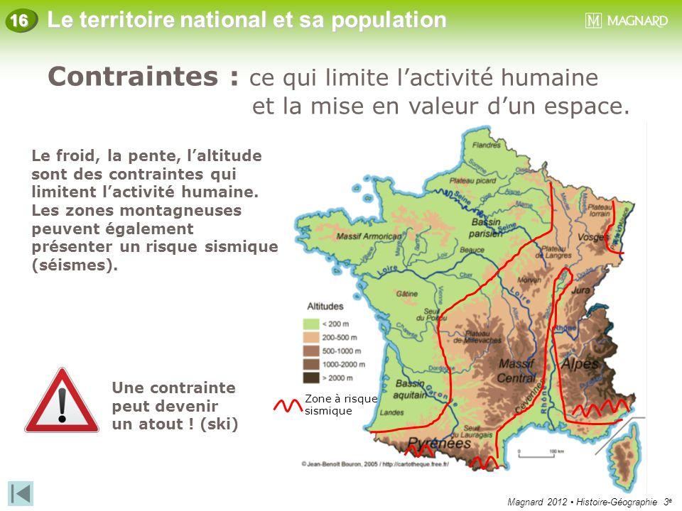 Magnard 2012 Histoire-Géographie 3 e Le territoire national et sa population 16 Le froid, la pente, l'altitude sont des contraintes qui limitent l'act