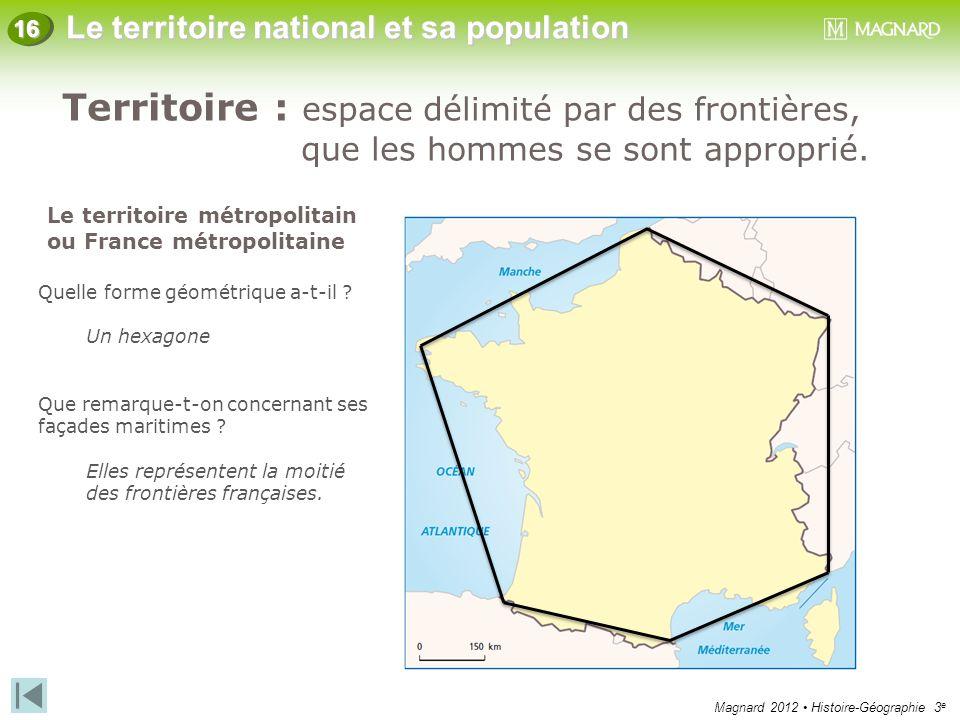 Magnard 2012 Histoire-Géographie 3 e Le territoire national et sa population 16 Territoire : espace délimité par des frontières, que les hommes se son