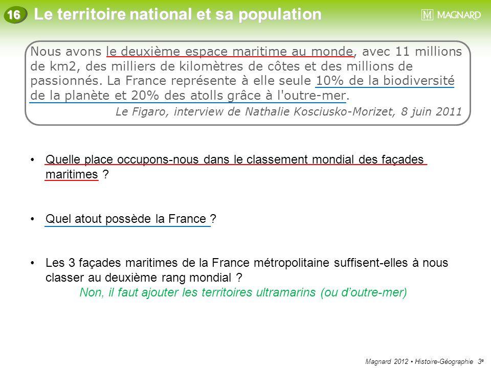 Magnard 2012 Histoire-Géographie 3 e Le territoire national et sa population 16 Nous avons le deuxième espace maritime au monde, avec 11 millions de k