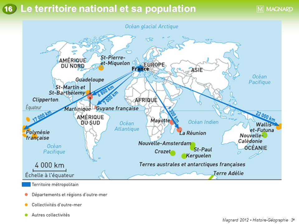 Magnard 2012 Histoire-Géographie 3 e Le territoire national et sa population 16 L'outre-mer français est soumis à des climats difficiles.