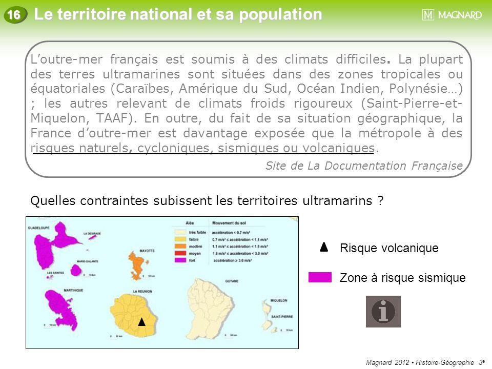 Magnard 2012 Histoire-Géographie 3 e Le territoire national et sa population 16 L'outre-mer français est soumis à des climats difficiles. La plupart d
