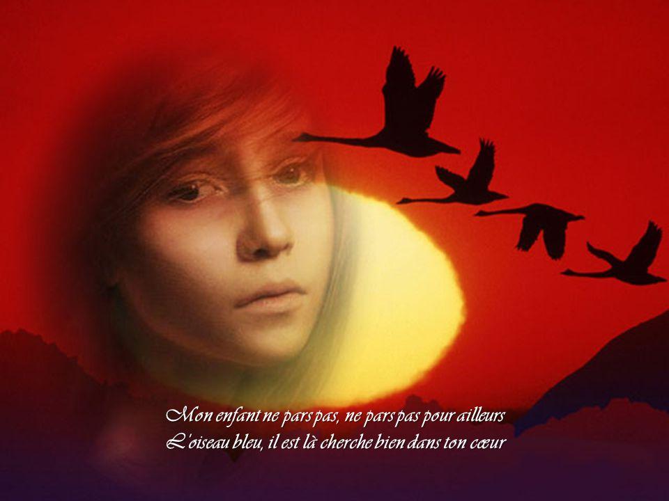 Mon enfant ne pars pas, ne pars pas pour ailleurs L oiseau bleu, il est là cherche bien dans ton cœur