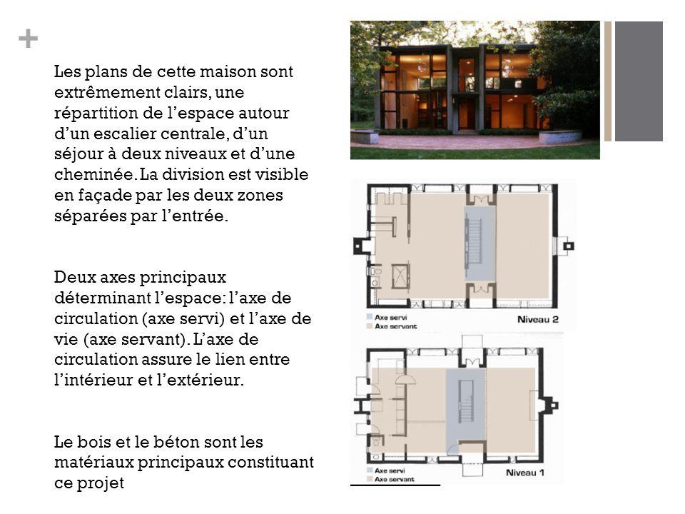 + Les plans de cette maison sont extrêmement clairs, une répartition de l'espace autour d'un escalier centrale, d'un séjour à deux niveaux et d'une cheminée.