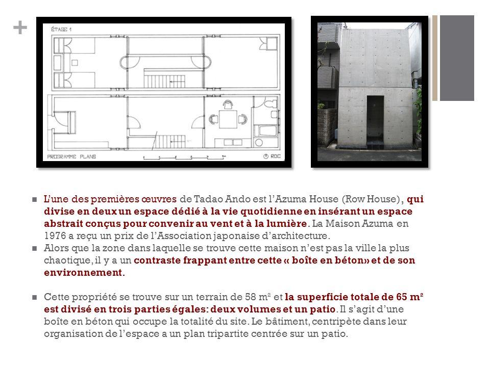 + L'une des premières œuvres de Tadao Ando est l'Azuma House (Row House), qui divise en deux un espace dédié à la vie quotidienne en insérant un espace abstrait conçus pour convenir au vent et à la lumière.