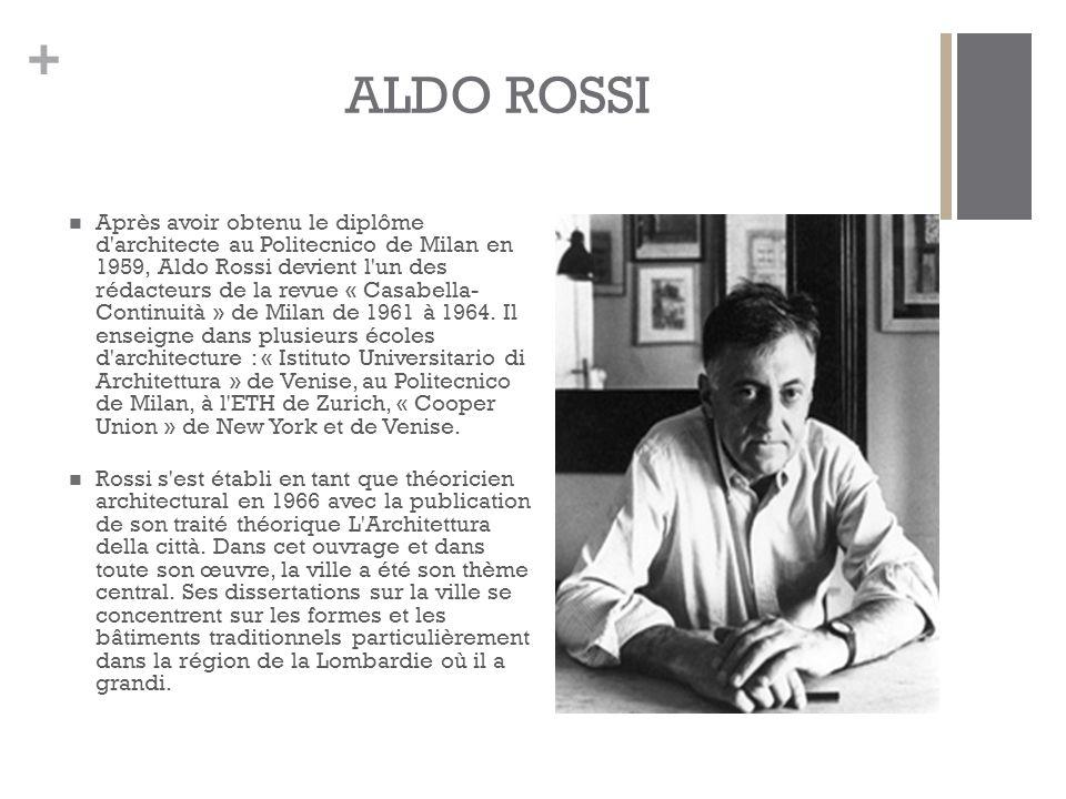 + ALDO ROSSI Après avoir obtenu le diplôme d architecte au Politecnico de Milan en 1959, Aldo Rossi devient l un des rédacteurs de la revue « Casabella- Continuità » de Milan de 1961 à 1964.