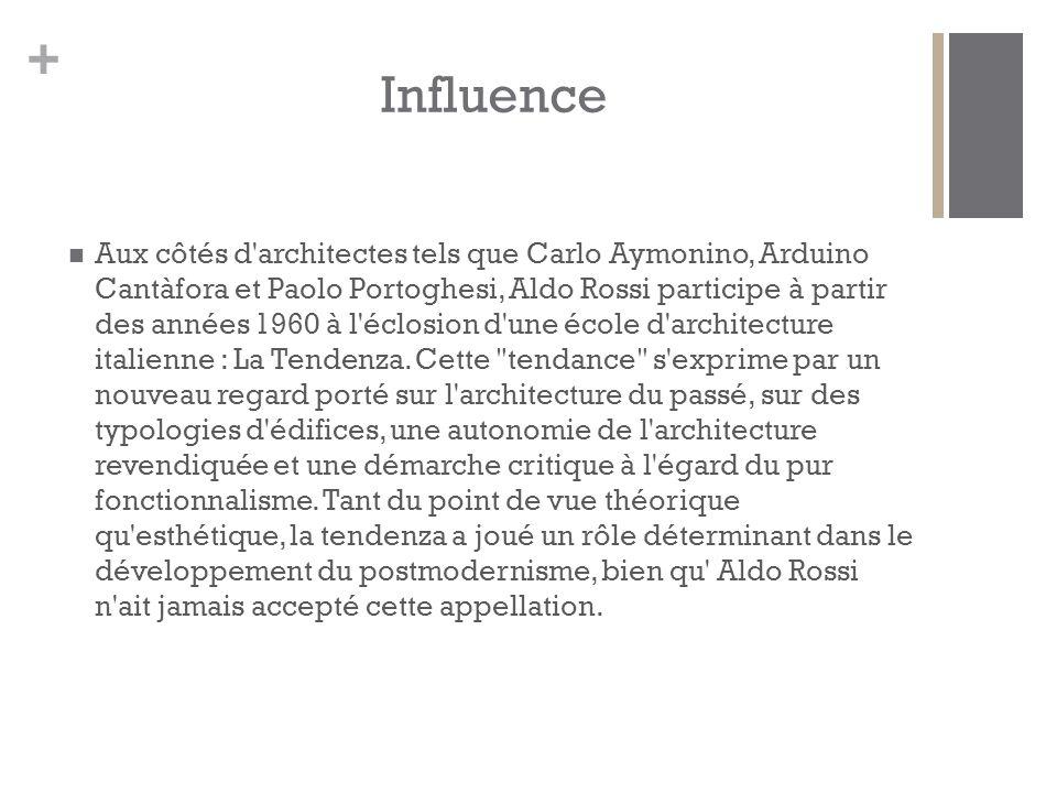 + Aux côtés d architectes tels que Carlo Aymonino, Arduino Cantàfora et Paolo Portoghesi, Aldo Rossi participe à partir des années 1960 à l éclosion d une école d architecture italienne : La Tendenza.