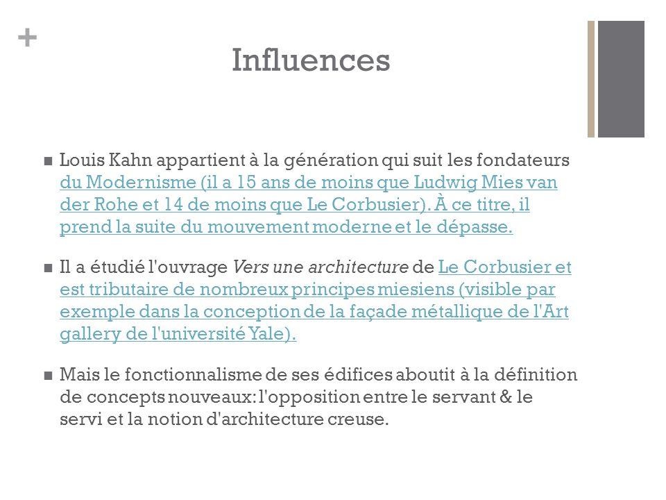 + Influences Louis Kahn appartient à la génération qui suit les fondateurs du Modernisme (il a 15 ans de moins que Ludwig Mies van der Rohe et 14 de moins que Le Corbusier).