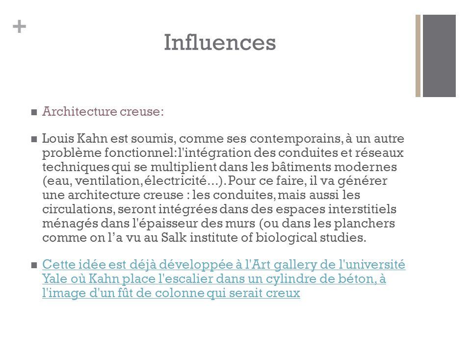 + Influences Architecture creuse: Louis Kahn est soumis, comme ses contemporains, à un autre problème fonctionnel: l intégration des conduites et réseaux techniques qui se multiplient dans les bâtiments modernes (eau, ventilation, électricité...).
