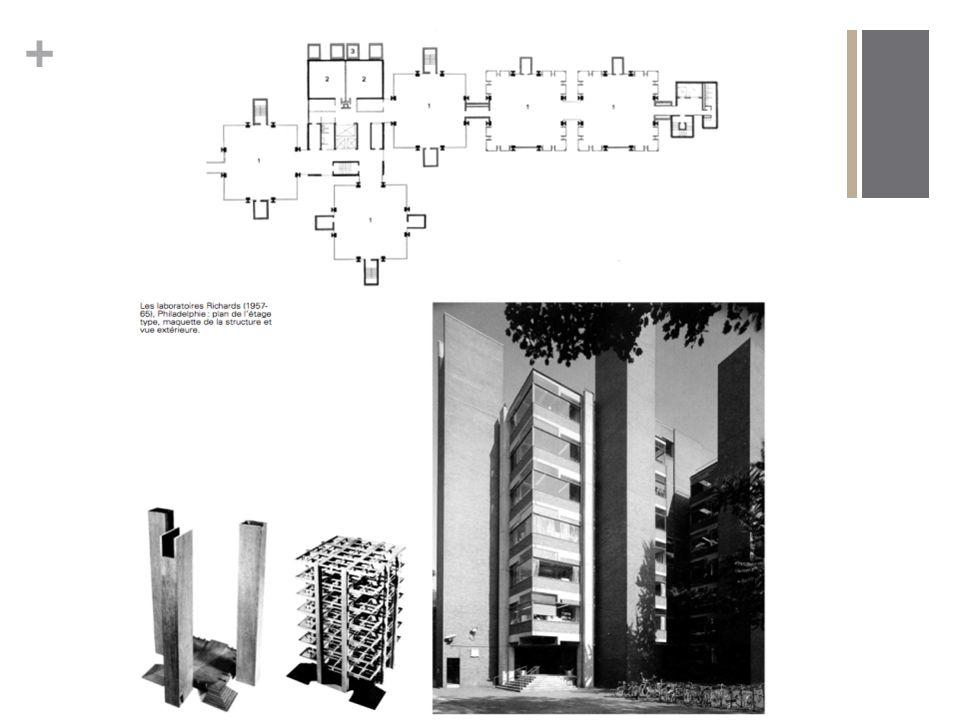 + Le Brutalisme: L emploi particulier que fait Louis Kahn de la brique, du bois et du béton brut en fait un initiateur du Brutalisme.