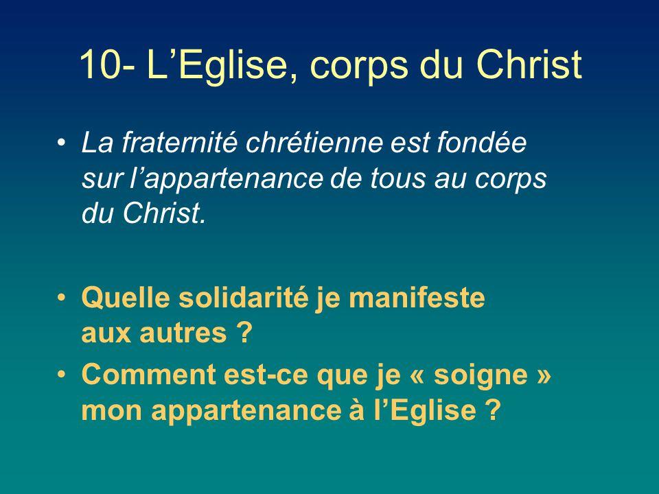La fraternité chrétienne est fondée sur l'appartenance de tous au corps du Christ. Quelle solidarité je manifeste aux autres ? Comment est-ce que je «
