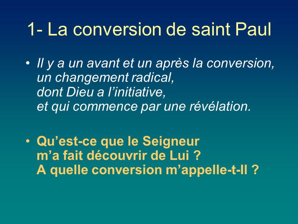 Il y a un avant et un après la conversion, un changement radical, dont Dieu a l'initiative, et qui commence par une révélation. Qu'est-ce que le Seign