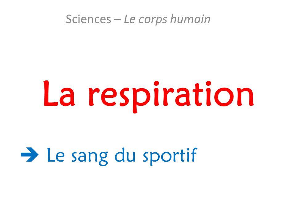 La respiration Sciences – Le corps humain  Le sang du sportif