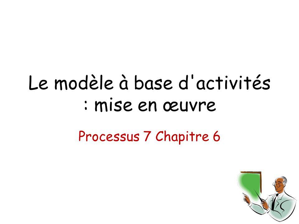 Le modèle à base d'activités : mise en œuvre Processus 7 Chapitre 6