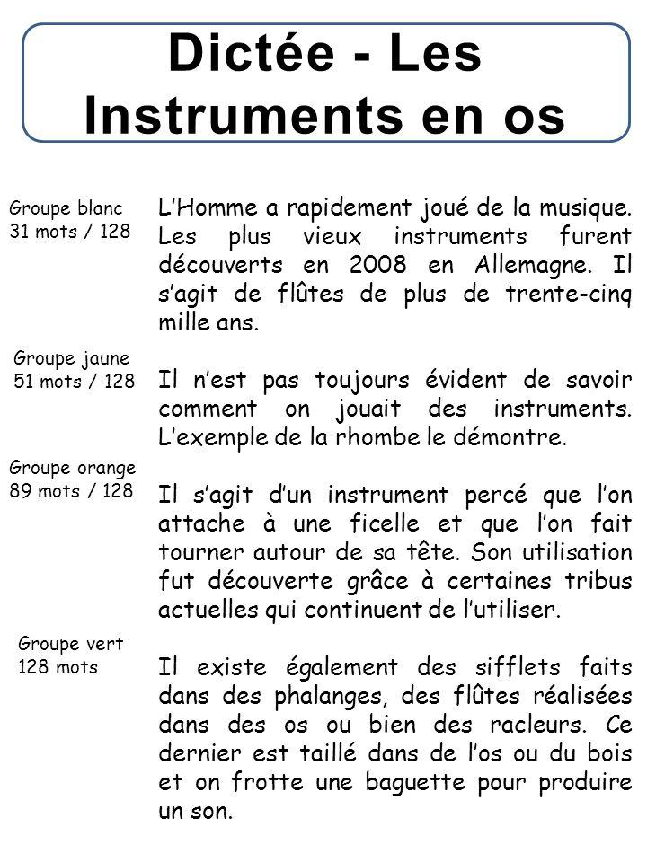 Dictée - Les Instruments en os Groupe blanc 31 mots / 128 Groupe jaune 51 mots / 128 Groupe orange 89 mots / 128 Groupe vert 128 mots L'Homme a rapide