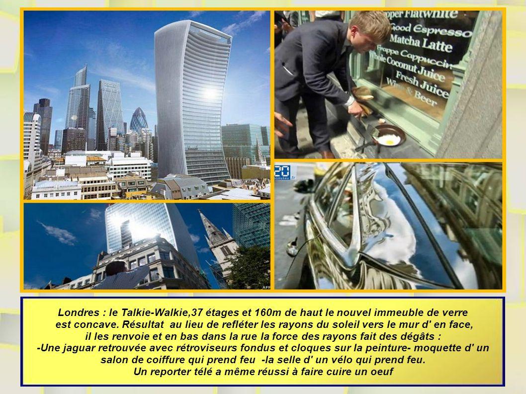 Londres : le Talkie-Walkie,37 étages et 160m de haut le nouvel immeuble de verre est concave.