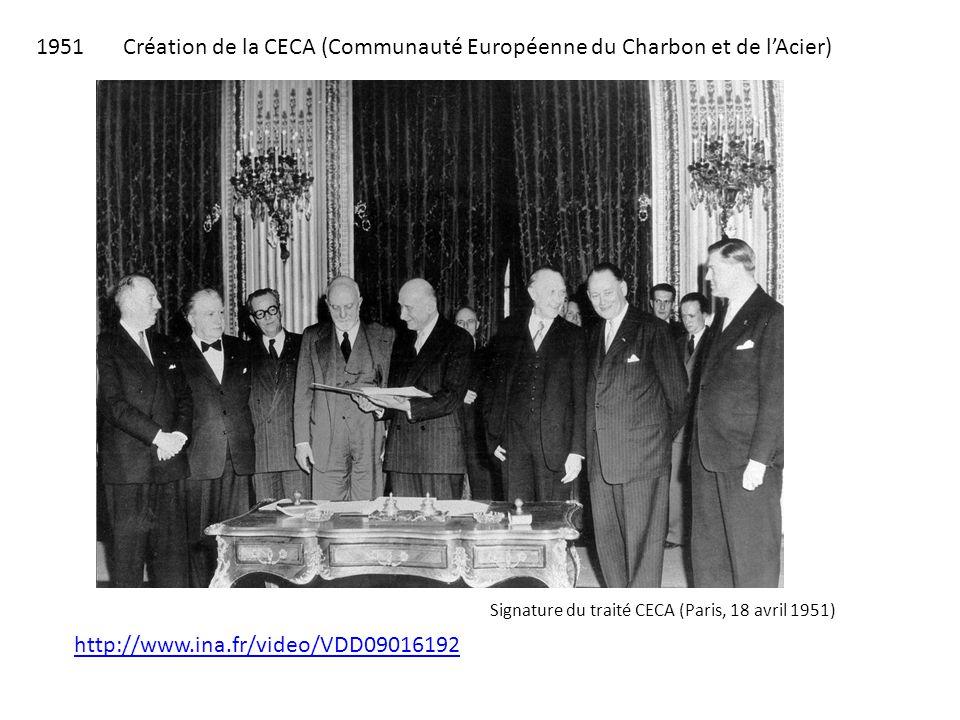 1951 Création de la CECA (Communauté Européenne du Charbon et de l'Acier) Signature du traité CECA (Paris, 18 avril 1951) http://www.ina.fr/video/VDD0