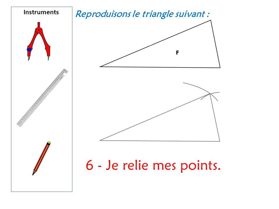 Instruments Reproduisons le triangle suivant : 6 - Je relie mes points.
