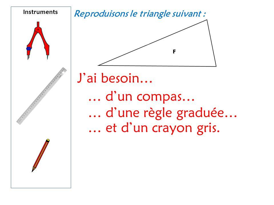 Instruments J'ai besoin… … d'un compas… … d'une règle graduée… … et d'un crayon gris. Reproduisons le triangle suivant :
