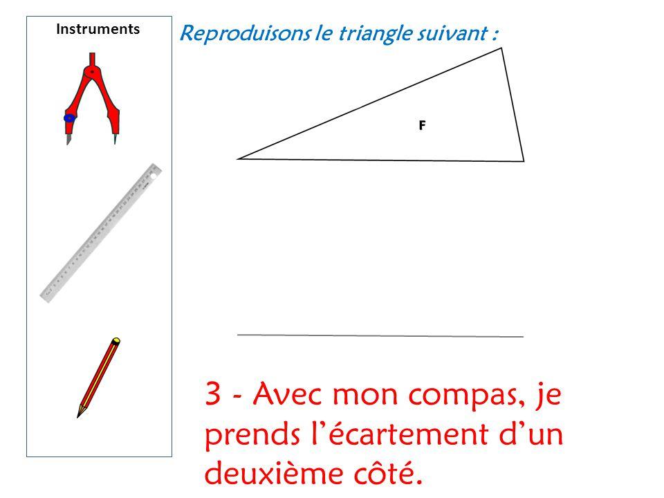 Instruments Reproduisons le triangle suivant : 3 - Avec mon compas, je prends l'écartement d'un deuxième côté.