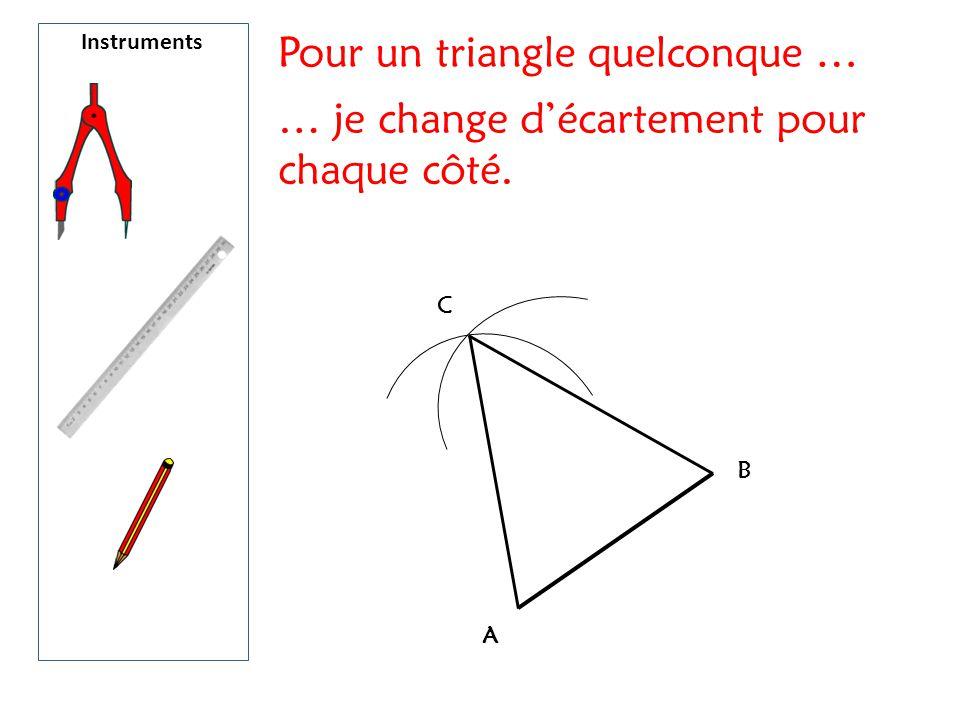 A B C Pour un triangle quelconque … … je change d'écartement pour chaque côté.