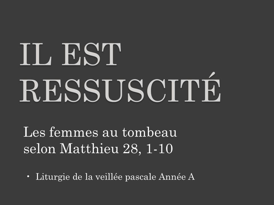 Après le sabbat, à l'heure où commençait le premier jour de la semaine, Marie Madeleine et l'autre Marie vinrent faire leur visite au tombeau de Jésus.