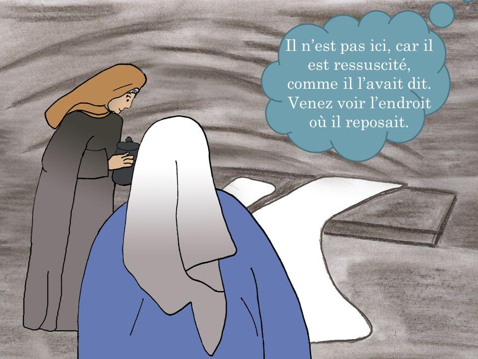 . Puis, vite, allez dire à ses disciples : Il est ressuscité d'entre les morts, et voici qu'il vous précède en Galilée ; là, vous le verrez. .