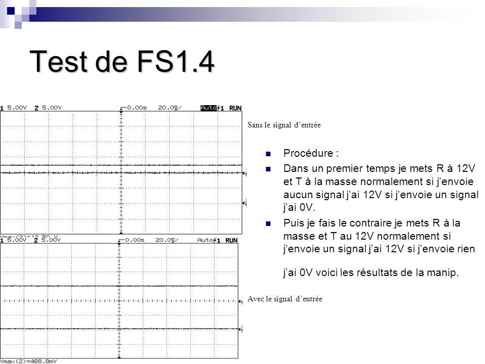 Test de FS1.4 Procédure : Dans un premier temps je mets R à 12V et T à la masse normalement si j'envoie aucun signal j'ai 12V si j'envoie un signal j'