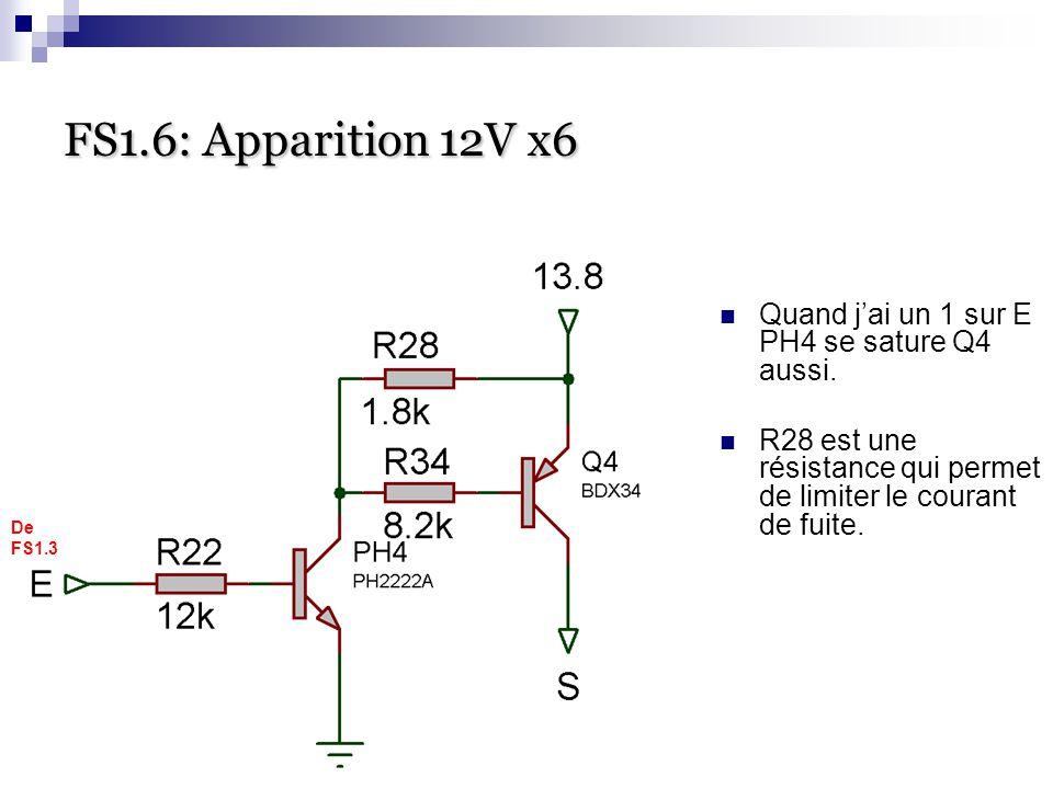 FS1.6: Apparition 12V x6 FS1.6: Apparition 12V x6 Quand j'ai un 1 sur E PH4 se sature Q4 aussi. R28 est une résistance qui permet de limiter le couran
