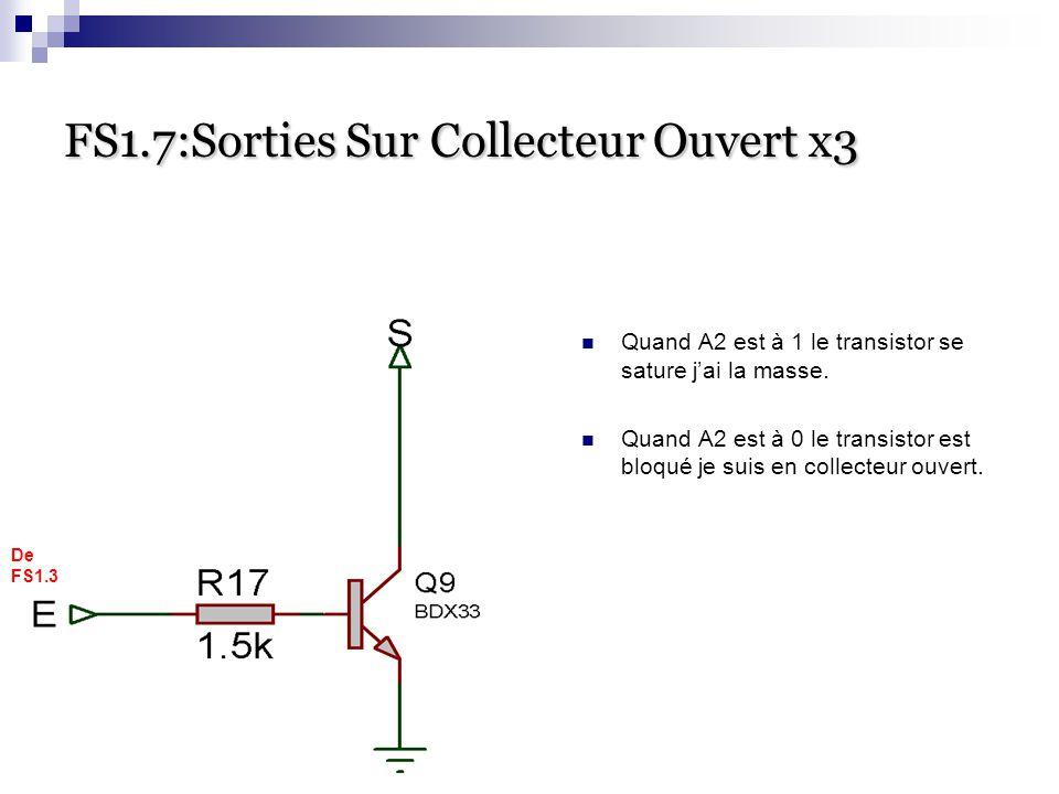 FS1.7:Sorties Sur Collecteur Ouvert x3 Quand A2 est à 1 le transistor se sature j'ai la masse. Quand A2 est à 0 le transistor est bloqué je suis en co