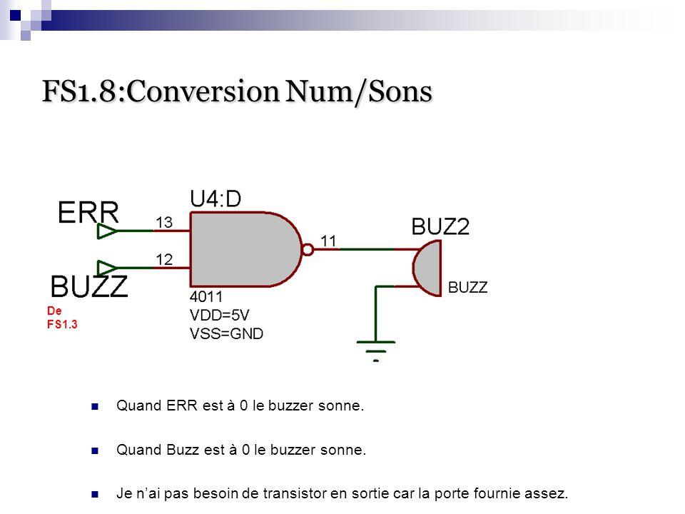 FS1.8:Conversion Num/Sons Quand ERR est à 0 le buzzer sonne. Quand Buzz est à 0 le buzzer sonne. Je n'ai pas besoin de transistor en sortie car la por