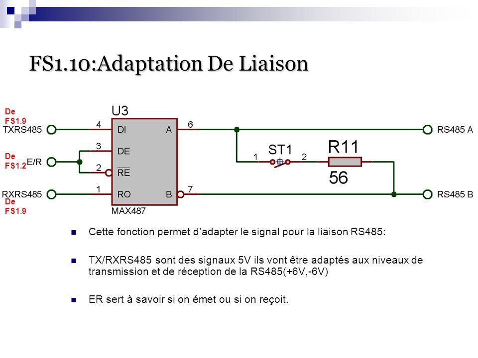 FS1.10:Adaptation De Liaison FS1.10:Adaptation De Liaison Cette fonction permet d'adapter le signal pour la liaison RS485: TX/RXRS485 sont des signaux