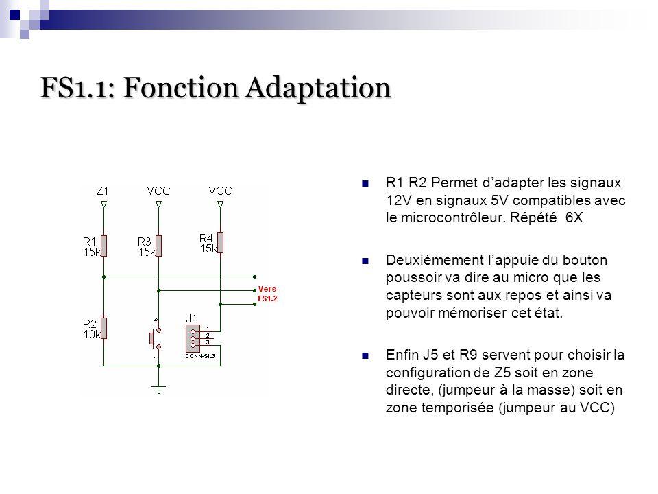 FS1.1: Fonction Adaptation R1 R2 Permet d'adapter les signaux 12V en signaux 5V compatibles avec le microcontrôleur. Répété 6X Deuxièmement l'appuie d