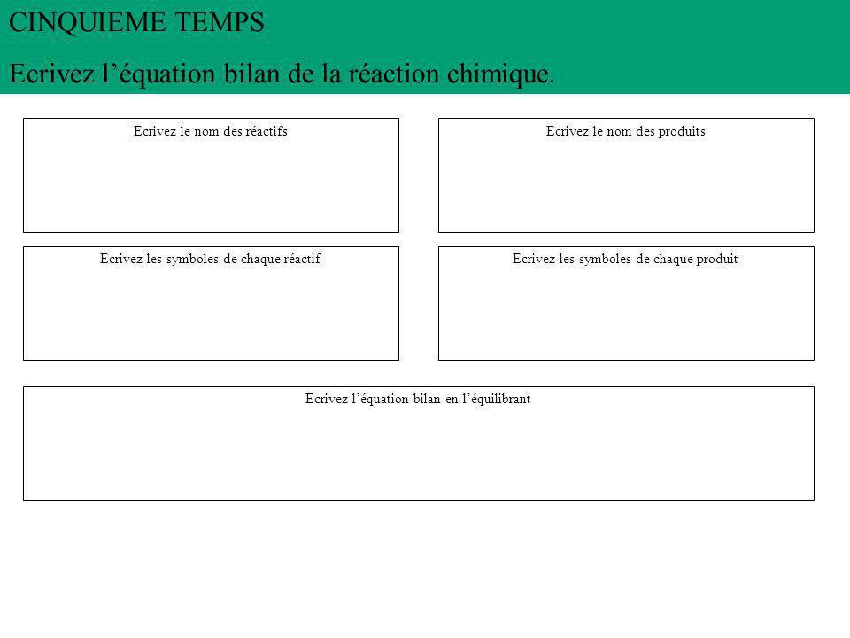 CINQUIEME TEMPS Ecrivez l'équation bilan de la réaction chimique.