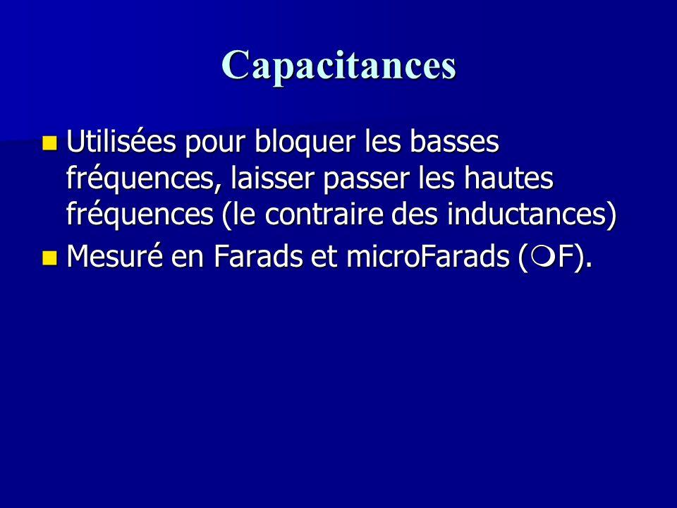 Capacitances Utilisées pour bloquer les basses fréquences, laisser passer les hautes fréquences (le contraire des inductances) Utilisées pour bloquer