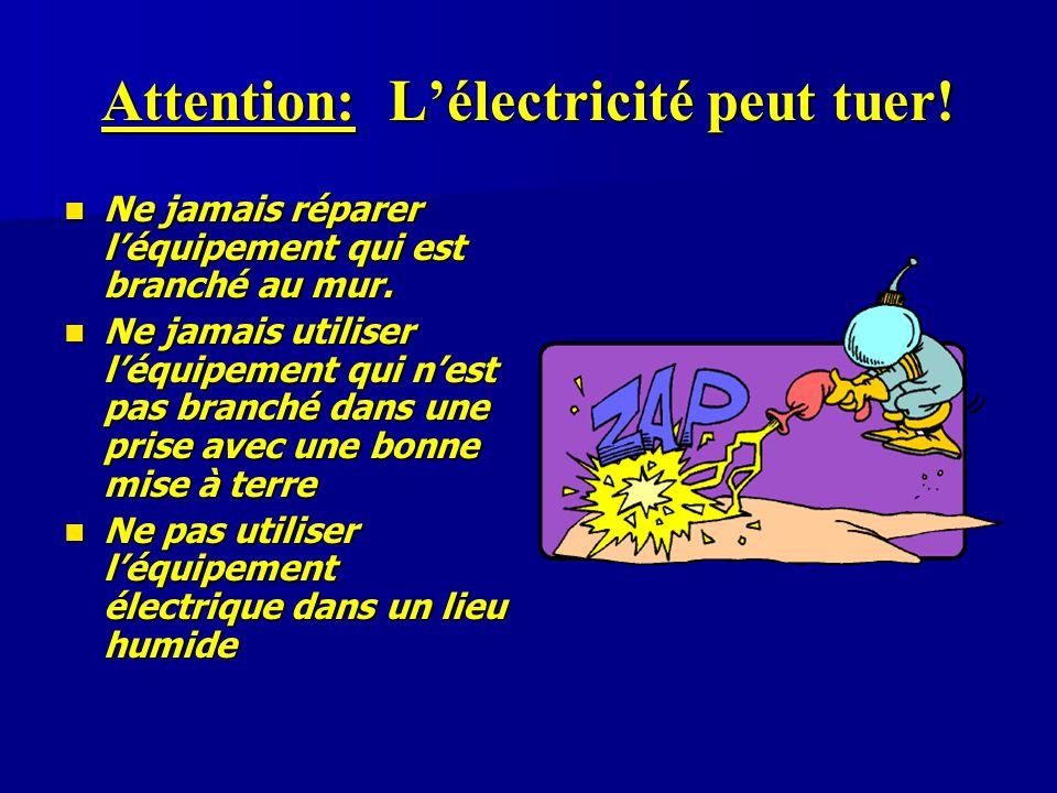 Attention: L'électricité peut tuer! Ne jamais réparer l'équipement qui est branché au mur. Ne jamais réparer l'équipement qui est branché au mur. Ne j