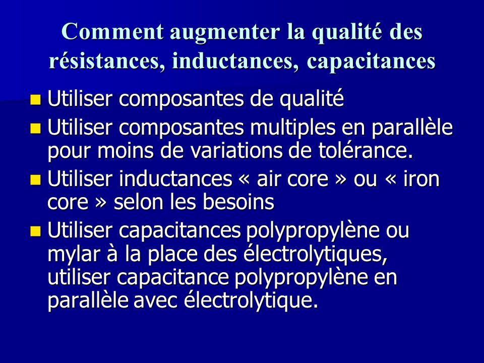 Comment augmenter la qualité des résistances, inductances, capacitances Utiliser composantes de qualité Utiliser composantes de qualité Utiliser compo