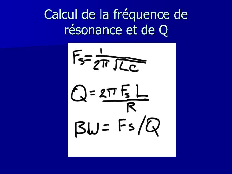 Calcul de la fréquence de résonance et de Q